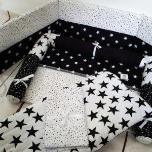 חבילת לידה דגם כוכבים שחור לבן