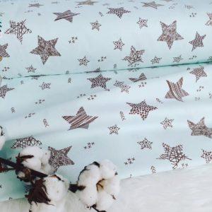 בד כותנה – דגם- כוכבים סמארט רקע מנטה עדין