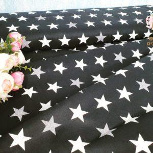 בד כותנה – דגם- כוכבים שחור לבן אפור